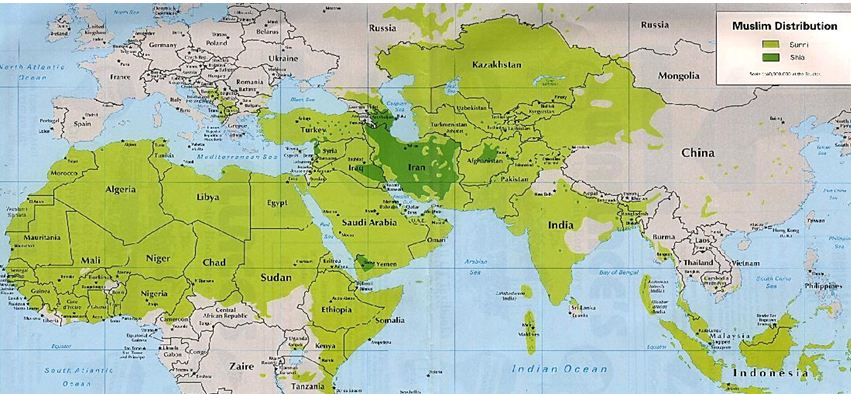 Tiny Israel Surrounded by Muslim Countries